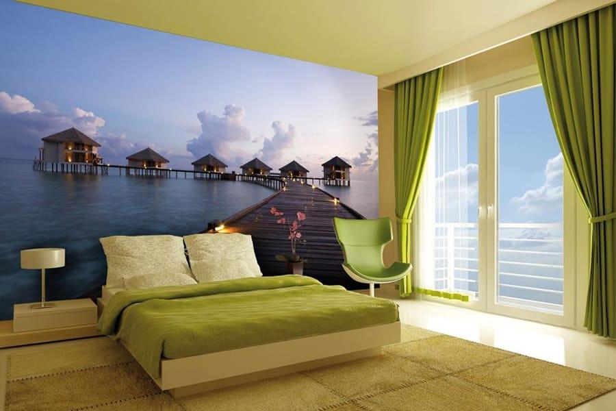 Дизайн фотообоев для спальни в интерьере фото 167